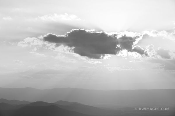 SHENANDOAH VALLEY SUNSET CLOUD SHENANDOAH NATIONAL PARK VIRGINIA BLACK AND WHITE