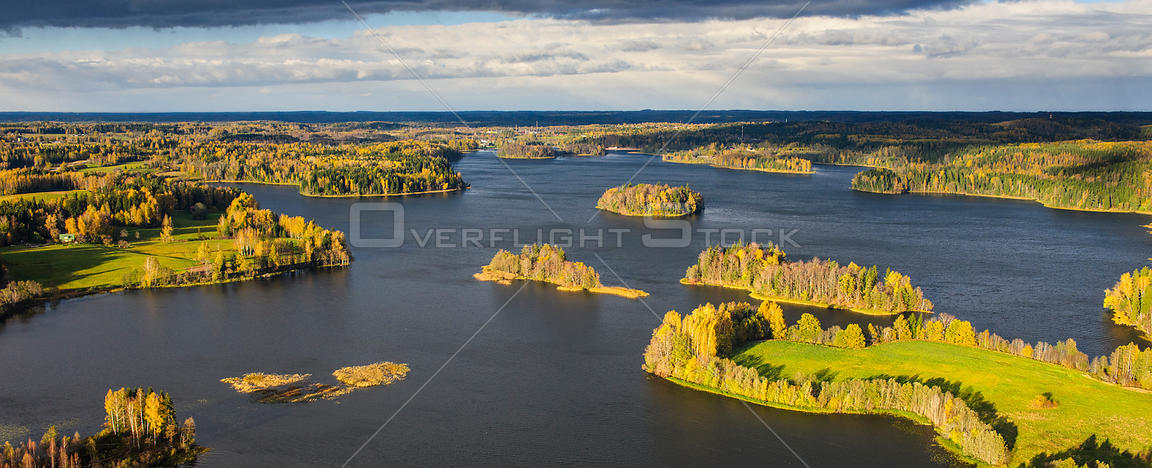 Aerial view of autumnal trees on islands in Lake Puhajarv,  Valgamaa, Estonia, October 2010.