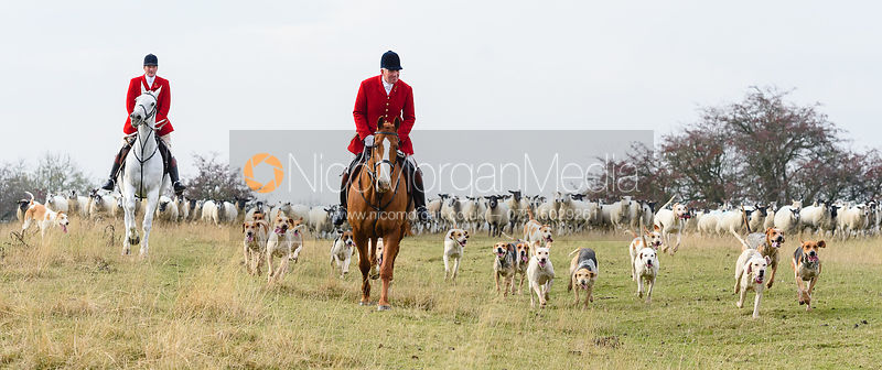 Chris Edwards, Andrew Osborne above Braunston. The Cottesmore Hunt at Braunston