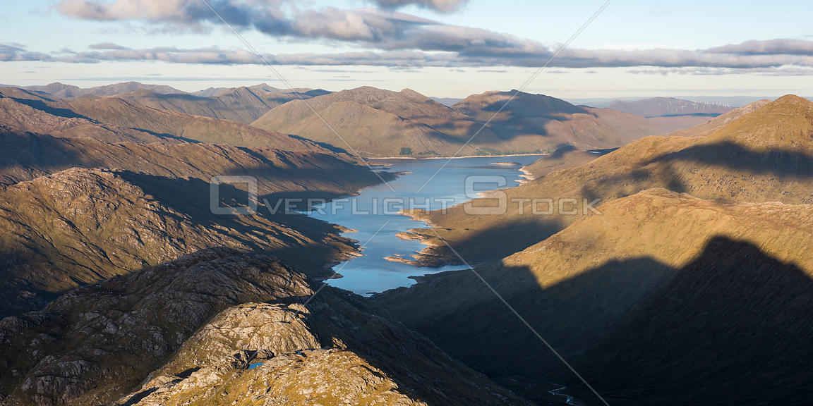 Loch Quinoch from Sgurr na Ciche, Knoydart, Lochaber, Scotland, UK, October 2016.