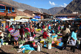 General view of stalls in Pisac market, Sacred Valley, Cusco Region, Peru
