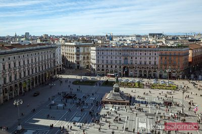 Elevated view of Piazza del Duomo from the cathedral, Milan, Italy
