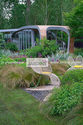 Chair, Contemporary garden, Garden chair, Garden furniture, Resting area, Digital, Grasses, Scenery, Summer