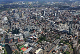 Manchester viewed from south west corner of City showing in the foreground the Old Granada Studio Buildings Spinningfields Ca...