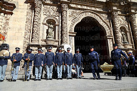 Members of the national guard carry caskets with remains of the members of the Junta Tuitiva out of San Francisco church after mass for a civic ceremony to commemorate the uprising of July 16th 1809, La Paz, Bolivia