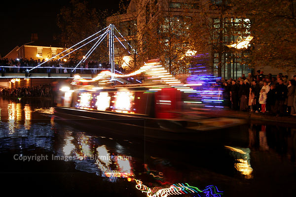 Brindleyplace Christmas Canal Boat procession, Birmingham, West Midlands, UK.