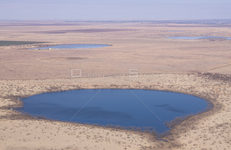 Aerial view of temporary lake (playa) on the high plains, Llano Estacado, Texas, USA