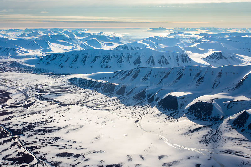 Aerial View of Spitzbergen, Svalbard, Norway, June 2012.