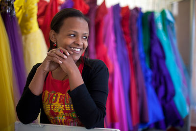 Ethiopia - Addis Ababa - A portrait of a shop girl that works in a fashionable boutique in a new mall