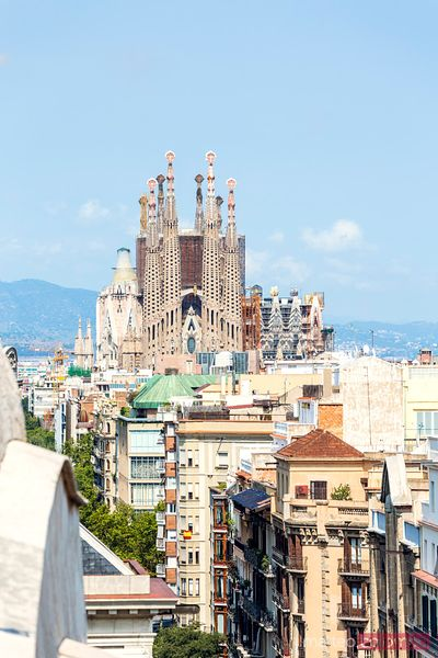 Elevated view on the Sagrada Familia, Barcelona, Spain