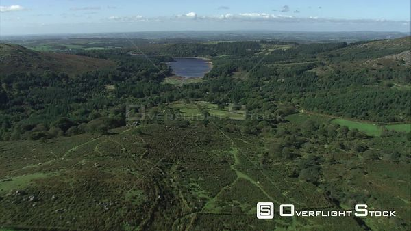 Aerial view looking towards Burrator Reservoir, Dartmoor National Park, Devon, England, UK, October 2015.