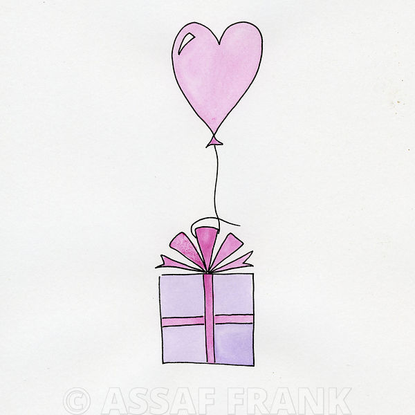 Birthday present with heart shapped balloon