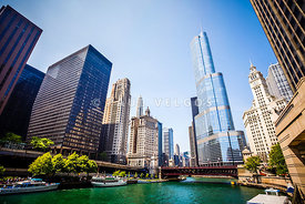 Picture of Chicago Skyline at Michigan Avenue Bridge