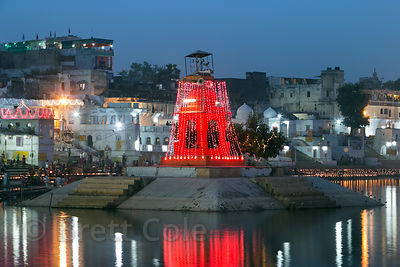 Deepdan around Pushkar Lake during Kartik Purnima, Pushkar, Rajasthan, India