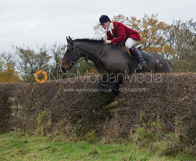 Rowan Cope MFH jumping a big Cottesmore hedge