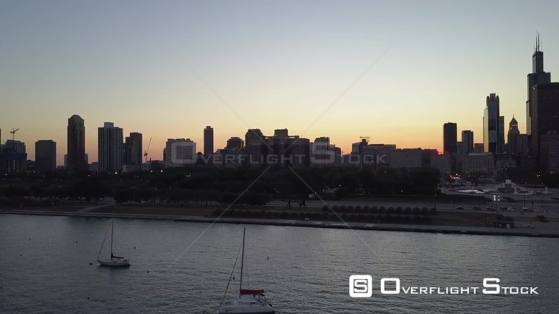 Drone Video Downtown Chicago View from Lake Waterfront  Illinois USA