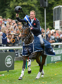 Oliver Townend during prize giving, Land Rover Burghley Horse Trials 2017