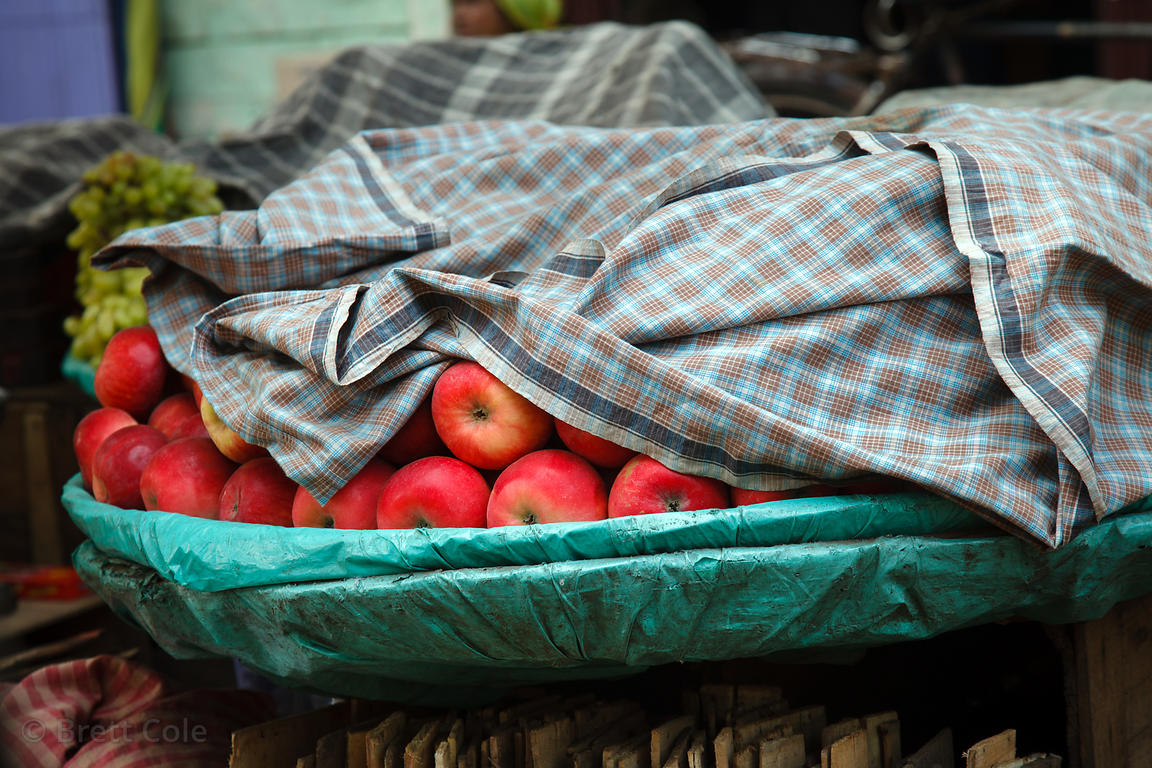 Apples for sale at a market in Kalighat, Kolkata, India.