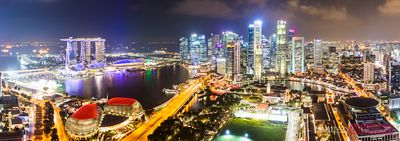 Panoramic of Marina bay skyline at night, Singapore