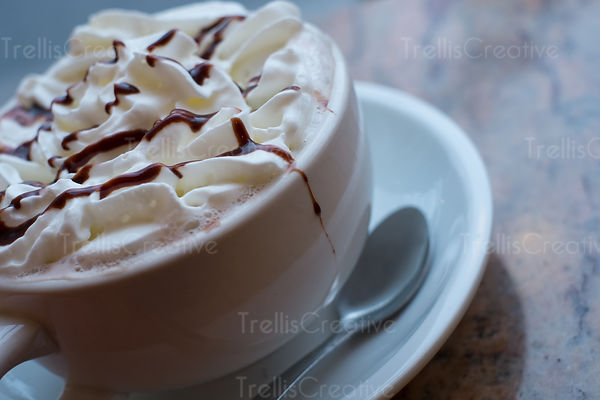 A cup of delicious hot chocolate with whipped cream and a choclate drizzle on top, at a coffee shop