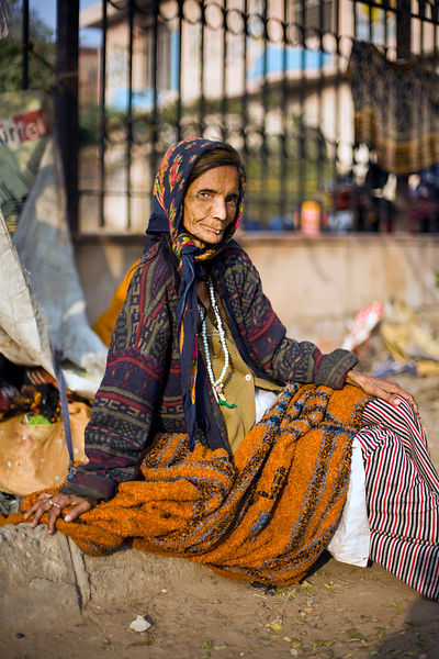 India - New Delhi - Kathleen Lama, 70, a homeless woman