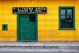 Entrance to terminal building of Tacna to Arica railway , Tacna , Peru