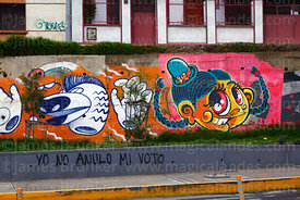 I wont annul my vote slogan and street art on wall, La Paz, Bolivia