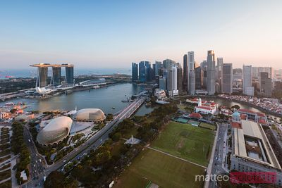Elevated view of Marina bay at sunset, Singapore