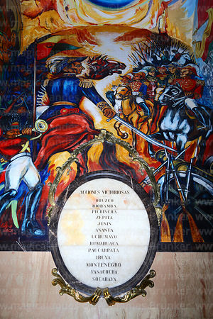 List of victorious battles of Mariscal Andrés de Santa Cruz in side chapel of cathedral where he is buried, Plaza Murillo, La...