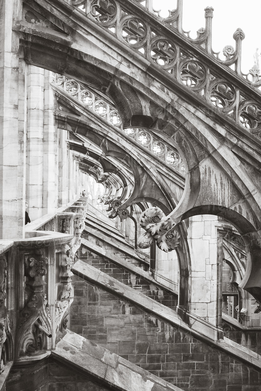 Detail view of the ornate roof of the Duomo di Milano