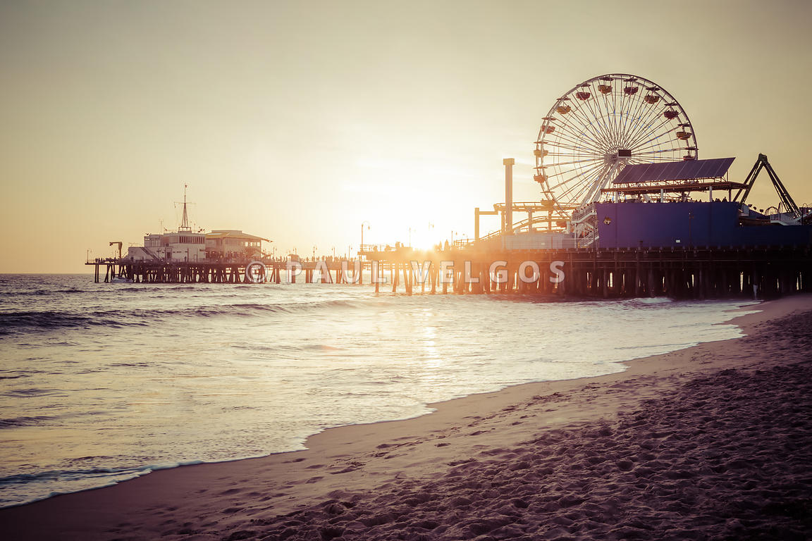 Santa Monica Pier Retro Sunset Picture