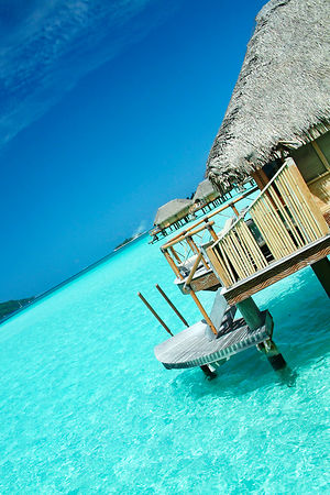 Bungalow in the clear water at Bora Bora