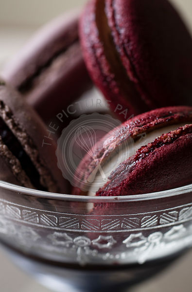 Macarons in a antique dessert bowl macro shot