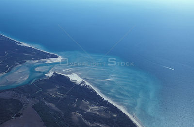 Aerial view of siltation at a rivermouth close to Bundaberg, Queensland, Australia
