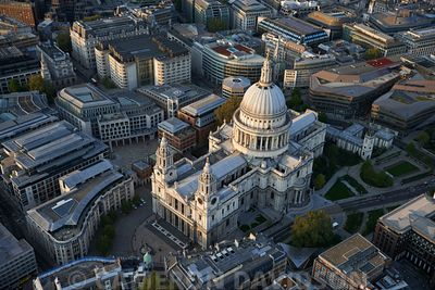 Aerial photograph of St. Paul's Cathederal in London, England