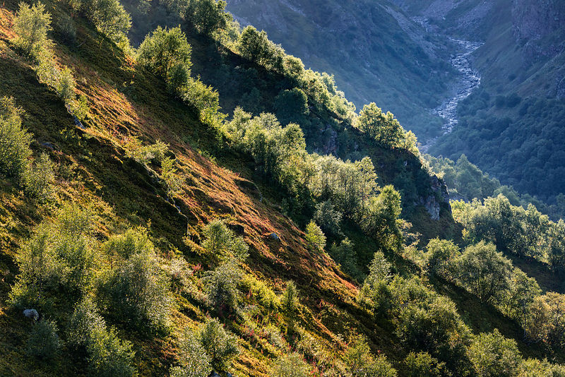 Mountain Scenery below Mt Kazbegi in Late Afternoon