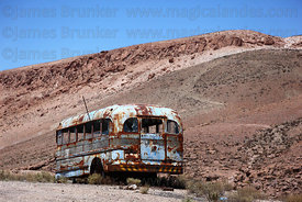 Rusting old bus next to Ruta /  Highway 11, Region XV , Chile