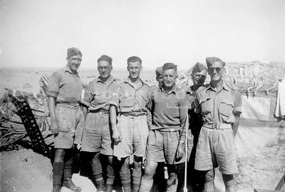 An old family photograph of British soldiers from the 8th army in North Africa in the second world war.