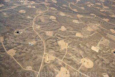 Aerial photograph of Natural Gas Wells near Big Piney, Wyoming.