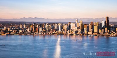 Panoramic aerial of Seattle downtown skyline, USA