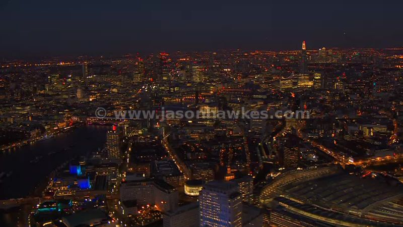 Aerial footage of South Bank at night, London