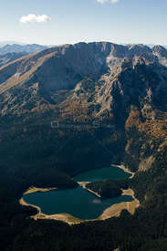 Aerial view of Black Lake with Veliki Medved (Big Bear) peak, Durmitor NP, Montenegro, October 2008