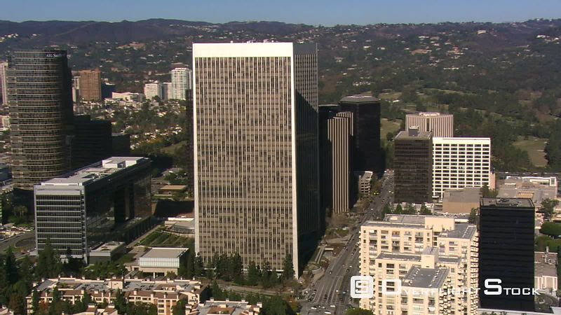 Orbiting Century City skyscrapers in Los Angeles area.