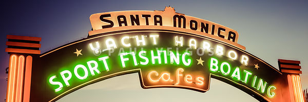 Santa Monica Pier Sign Panorama Retro Picture