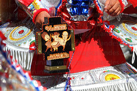Detail of rattle of morenada dancer, Gran Poder festival, La Paz, Bolivia