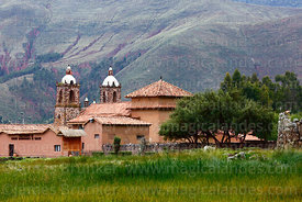 View of colonial church from archaeological site, Raqchi, Cusco Region, Peru