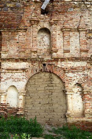 Bricked up side entrance of abandoned colonial church at Belén, Potosí Department, Bolivia