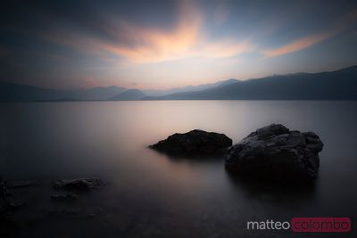 Pink sunset over lake Maggiore North Italy