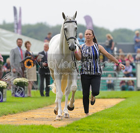 Natalie Blundell and ALGEBRA - The first vets inspection (trot up),  Land Rover Burghley Horse Trials, 3rd September 2014.