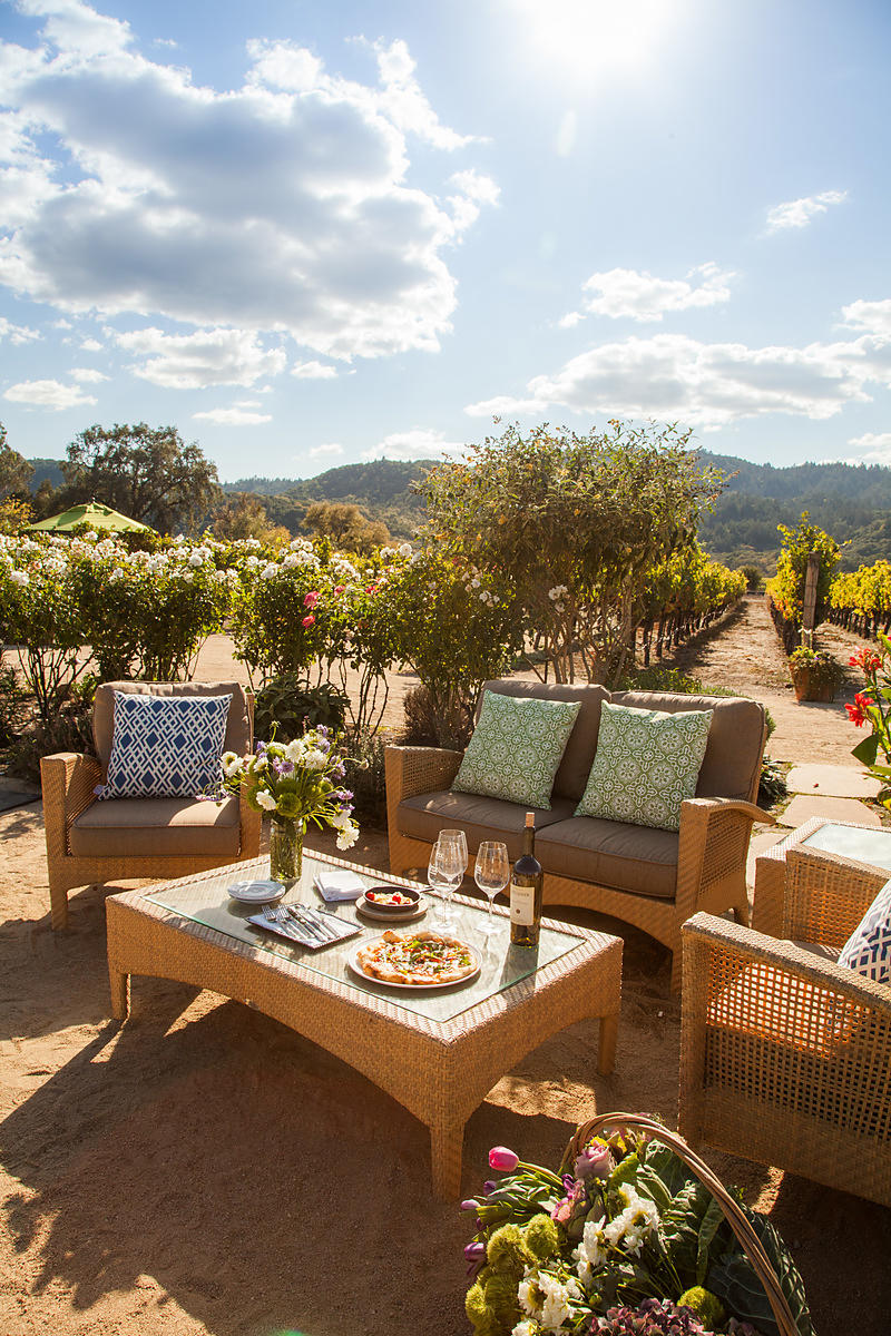 Dining in a vineyard in Napa Valley